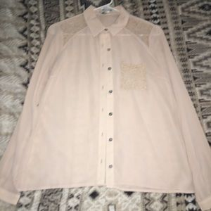 Nude & lace button up shirt